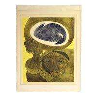 """Jorge Dumas """"Pescadora"""" L/E Lithograph Abstract Cubist Portrait"""