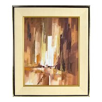 Vintage Mid Century Modern Abstracted Cityscape Oil Painting by Hollenbeck