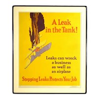 "1929 ""A Leak in the Tank!"" Crashing Airplane Lithograph Poster by Willard Elmes"