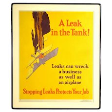 """1929 """"A Leak in the Tank!"""" Crashing Airplane Lithograph Poster by Willard Elmes"""