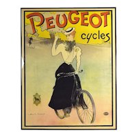 Original 1897 Charles Lucas Peugeot Cycles Color Lithographic Advertising Poster