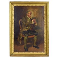 Early 20th Century Oil Painting Portrait of Chamber Musician Violinist