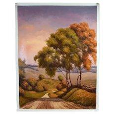 Impressionist Oil Painting Autumnal Rolling Hillside Landscape Stephano