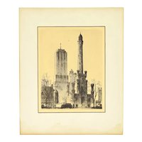 1932 Etching Palmolive Building behind Chicago Water Tower Leon Pescheret
