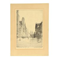 "1930's Etching ""Art Institute Chicago"" Michigan Avenue Scene sgnd Chester Danforth"