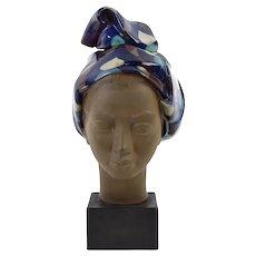 Vintage Mid-Century Ceramic Bust Woman w Head Scarf Johannes Hedegaard Danish