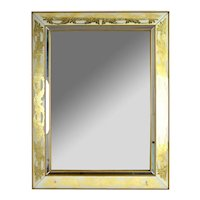 Hollywood Regency Eglomise Gold Acanthus Leaf Wall Mirror by Armand Lee