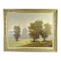 Vintage Antonio Pecoraro Impressionist Landscape Painting with Trees Figures