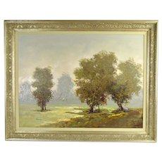 Vintage Antonio Pecoraro Impressionist Landscape Painting with Trees Figures