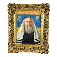 Caspar Mine Oil Painting Portrait of Jewish Scholar or Rabbi Vienna Artist