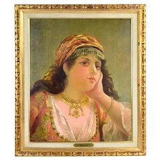 Antique 1886 Oil Painting Bedouin or Gypsy Woman w Gold Jewelry by J. Molnar
