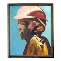 Vintage 1980's Oil Painting African-American Portrait Construction Worker Lineman signed