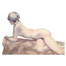 1970's Finely Rendered Watercolor Painting of Nude on Rock Kurt Sala Chicago