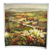 Impressionist Oil Painting Hilltop Garden Path Leading to Village and Meadows
