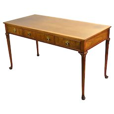 Vintage Baker Furniture Writing Desk Crossbanded Top Burled Drawer Fronts