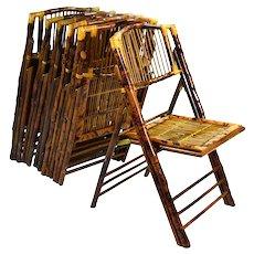 Set 6 Vintage Tiki Tortoise Shell Bamboo Cane Rattan Folding Chairs