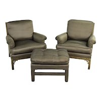 Pair Vintage Erwin Lambeth Upholstered Lounge Chairs with Matching Ottoman