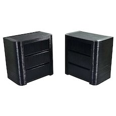 Pair Sleek Mid Century Modern Pencil Reeded Chests Drawers Nightstands