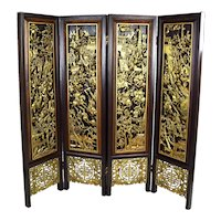 Vintage Chinese Heavily Carved Wood Four Panel Screen Room Divider
