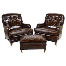Pair Mid Century Loeblein Leather Club Lounge Chairs Armchairs with Ottoman