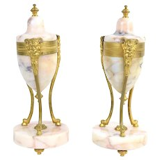 Pair Antique 19th Century Gilt Bronze Marble Urns Vases Pan Satyr Masks