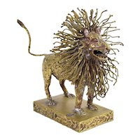 Pal Kepenyes Modernist Brutalist Brass Lion Sculpture Mexican Hungarian Artist
