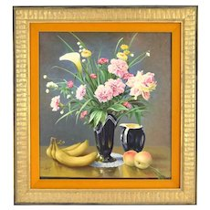 1973 Finely Rendered Realist Still Life Oil Painting Flowers Bananas Peaches Signed