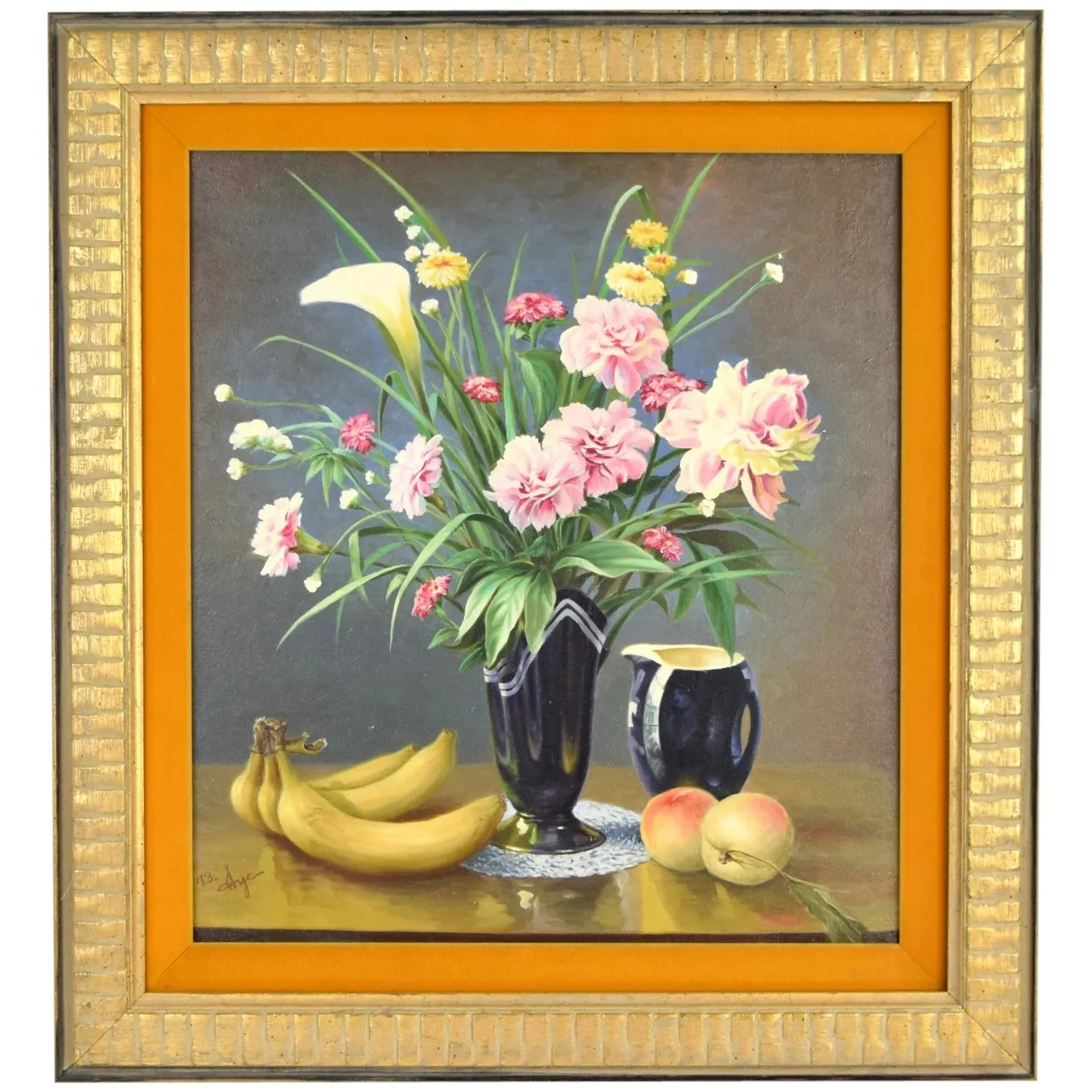 1973 Finely Rendered Realist Still Life Oil Painting Flowers Bananas Colin Reed Art Antiques Ruby Lane