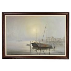 Vintage Oil Painting Waving Goodbye Sailboats in Morning Mist signed David Forbis