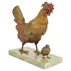 Franz Bergman Cold Painted Vienna Bronze Chicken Hen w Chick signed