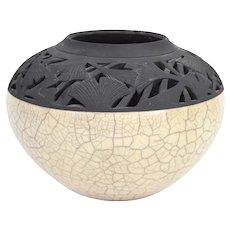 Akiko Koiso Raku Pottery Vase with Incised Pierced Gingko Leaf Rim