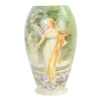 Hand Painted American Belleek Vase Woman in Diaphanous Gown Feeding Birds