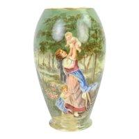 Hand Painted American Belleek Vase Mother Playing with Children in Garden