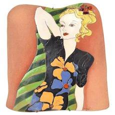 Large Vintage Studio Art Pottery Wall Plaque Woman in 1940's Colorful Dress Kozek