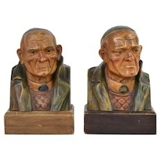 Antique Austrian Carved Wood Bookends Serious Old Mystery Man in Beanie Cap