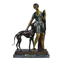 "Art Deco Bronze Sculpture ""Femme au Levrier"" Woman w Greyhound after Ignacio Gallo"