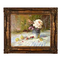 Vintage Impressionist Still Life Oil Painting Vase w Flowers and Pears signed