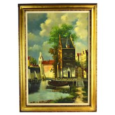 Large Vintage EJ Smit Oil Painting Dutch Canal Houses and Sailboats
