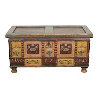Antique 1848 German Painted Dower or Blanket Chest