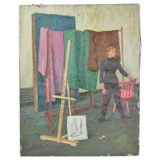 1950's Oil Painting Portrait Dancer in Studio by Victor Lasuchin Russian American