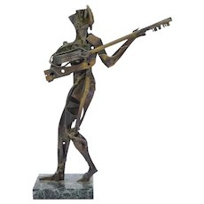 Vintage Mid-Century Brutalist Pierced Brass Metal Sculpture of Guitar Player