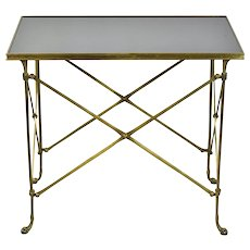Global Views Neoclassical Directoire Brass Side End Table Black Granite Top