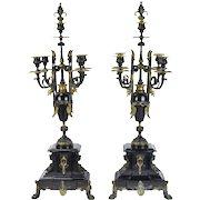 Pair 19th Century Egyptian Revival Gilt Bronze & Marble Candelabras