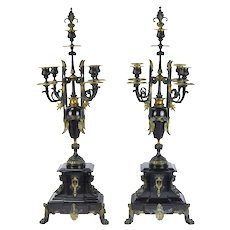 Pair 19th Century Egyptian Revival Gilt Bronze & Marble Candelabras