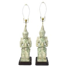 Pair Mid-Century Traditional Thai Buddhist Dancers Praying Pottery Lamps