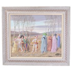 "1990 ""Conflicting Views"" Claude William Harrison Surreal Scene Jesters Harlequins"