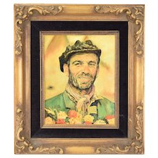 Vintage Oil Painting Swarthy Roughneck Guy w Beard and Lilac Scarf signed