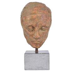 1970's Vintage Bizarre Pottery Bust of Man's Head on Granite Base