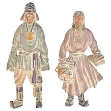 Pair Vintage Carved Wood Mongolian Figures in Traditional Clothing Sculptures