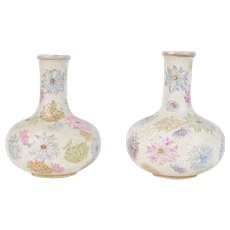 Pair Japanese Meiji Bottle Vases w Chrysanthemum & Raised Dot Decoration